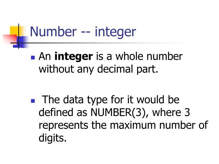 Number -- integer