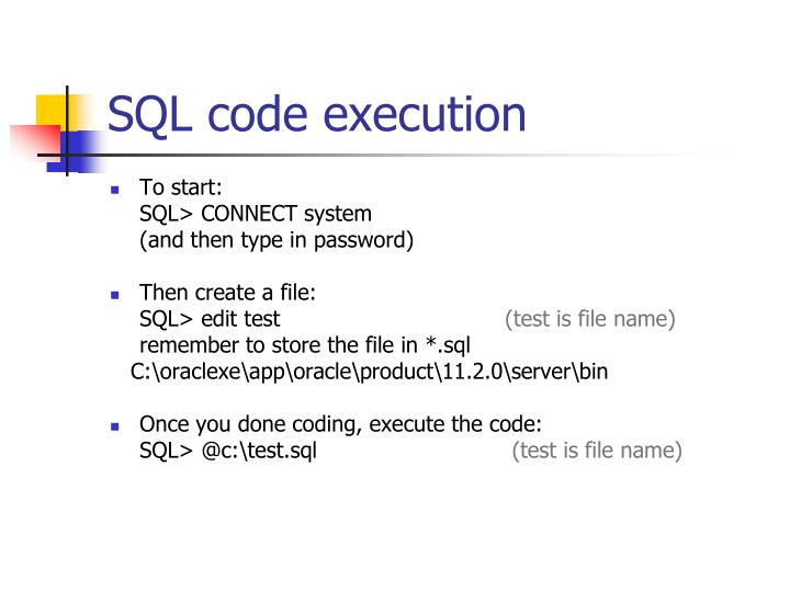 SQL code execution