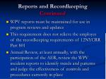 reports and recordkeeping continued1