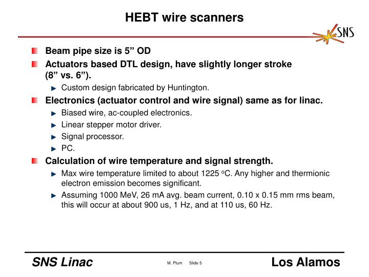 HEBT wire scanners