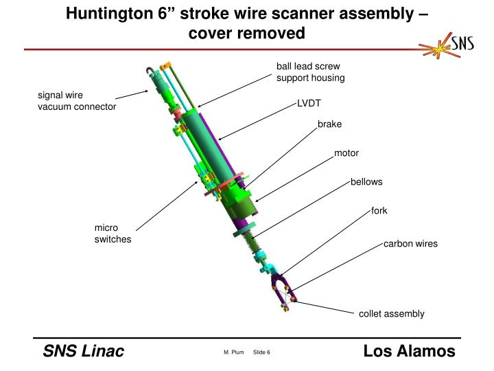 "Huntington 6"" stroke wire scanner assembly – cover removed"