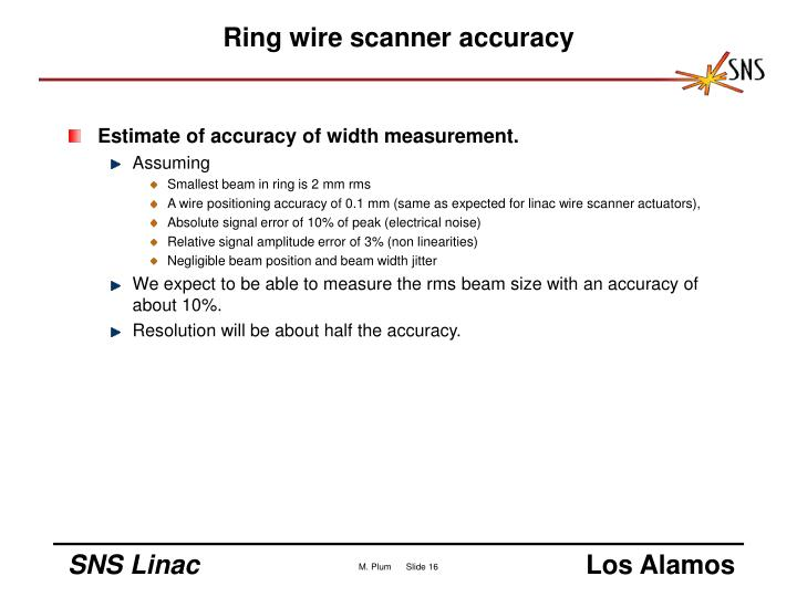Ring wire scanner accuracy