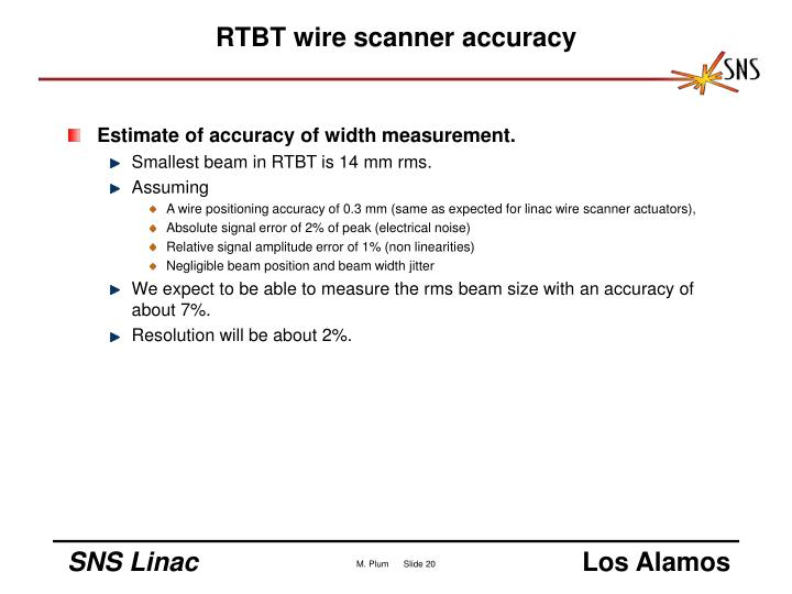 RTBT wire scanner accuracy