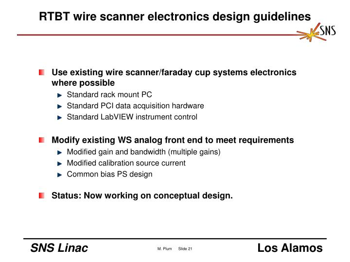 RTBT wire scanner electronics design guidelines