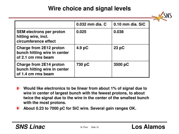 Wire choice and signal levels