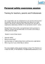 personal safety awareness session training for teachers parents and professionals
