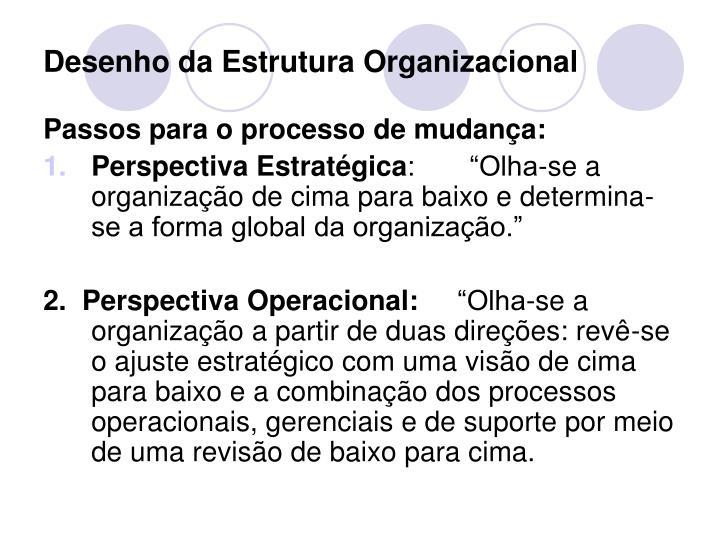 Desenho da Estrutura Organizacional