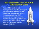 ndt personnel qualification and certification