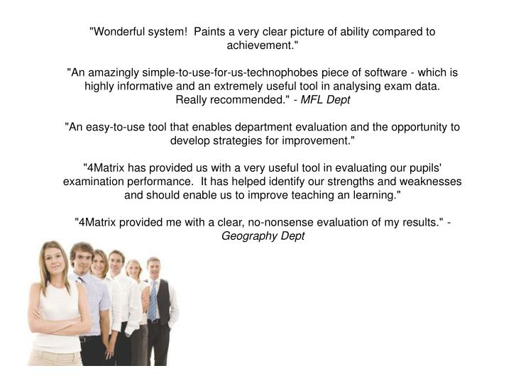 """""""Wonderful system! Paints a very clear picture of ability compared to achievement."""""""