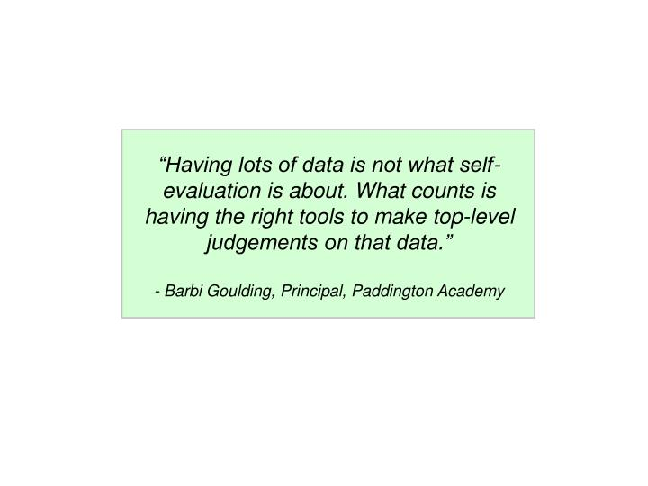 """""""Having lots of data is not what self-evaluation is about. What counts is having the right tools to make top-level judgements on that data."""""""