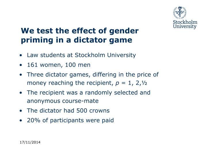 We test the effect of gender priming in a dictator game