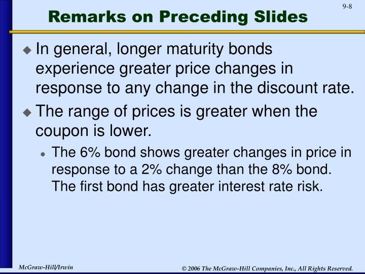 Remarks on Preceding Slides
