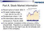 part a stock market information