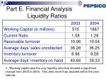 part e financial analysis liquidity ratios