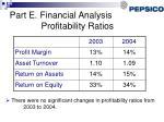 part e financial analysis profitability ratios