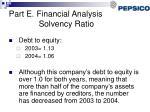 part e financial analysis solvency ratio
