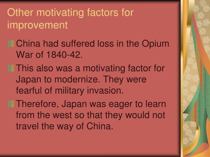 Other motivating factors for improvement