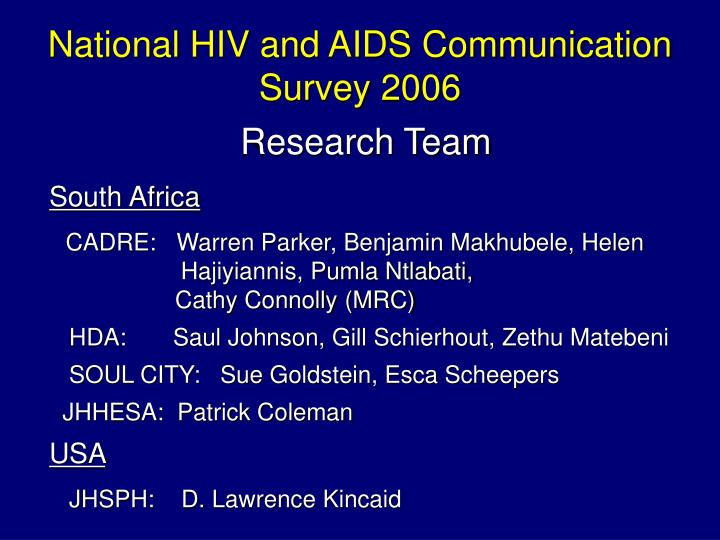 National HIV and AIDS Communication