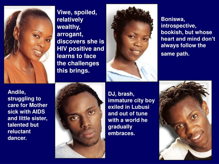 Viwe, spoiled, relatively wealthy, arrogant, discovers she is HIV positive and learns to face the challenges this brings.