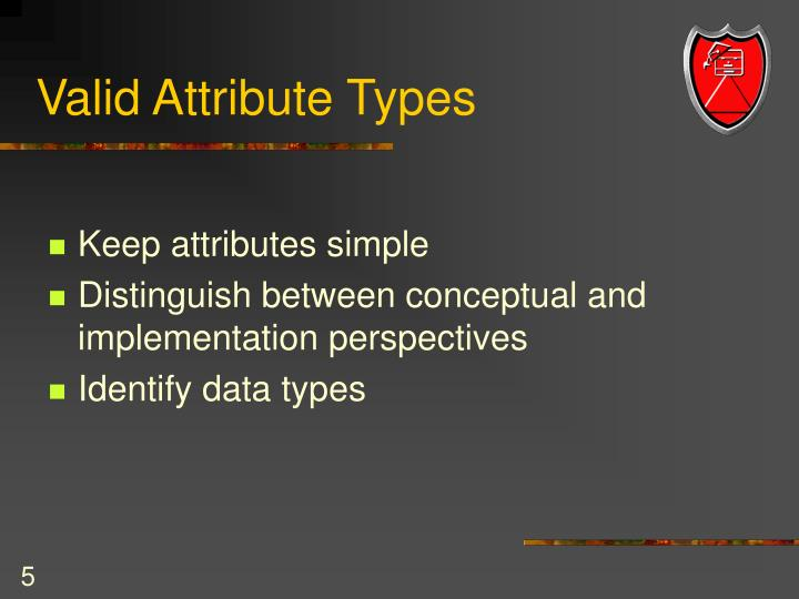 Valid Attribute Types