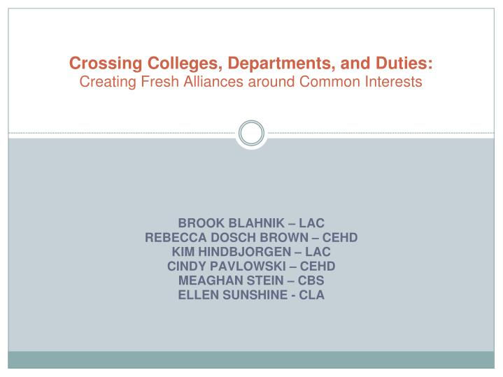 Crossing colleges departments and duties creating fresh alliances around common interests