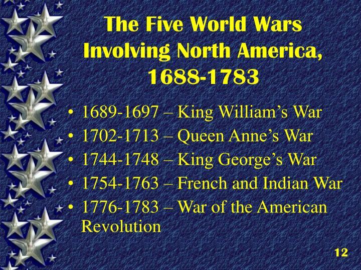 The Five World Wars Involving North America, 1688-1783