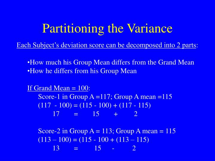 Partitioning the Variance