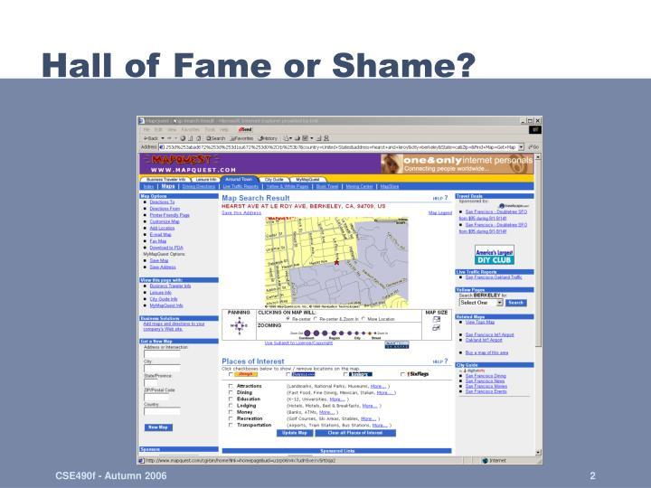 Hall of fame or shame