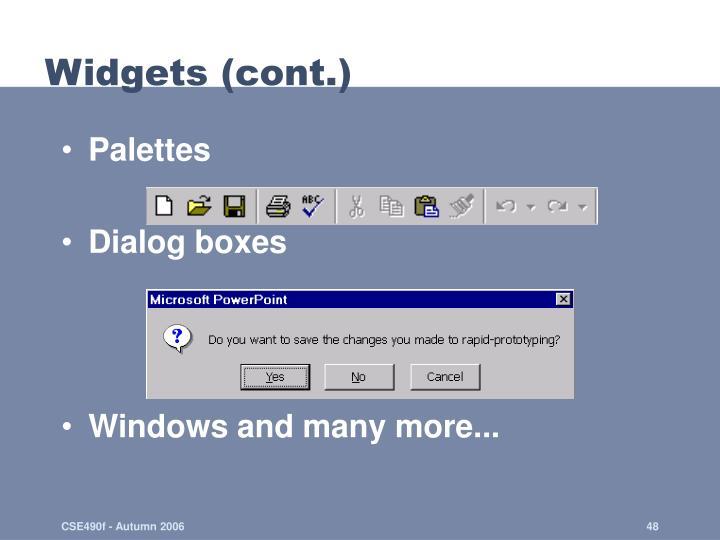 Widgets (cont.)