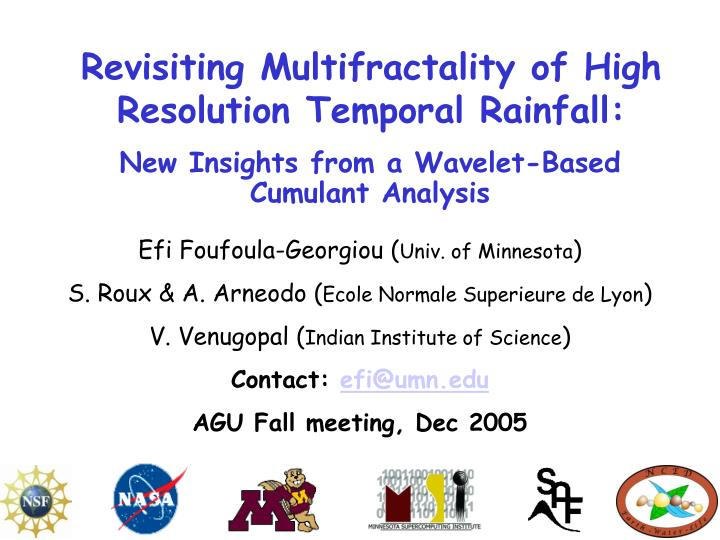 revisiting multifractality of high resolution temporal rainfall n.