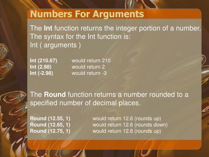 Numbers for arguments