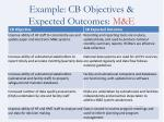 example cb objectives expected outcomes m e