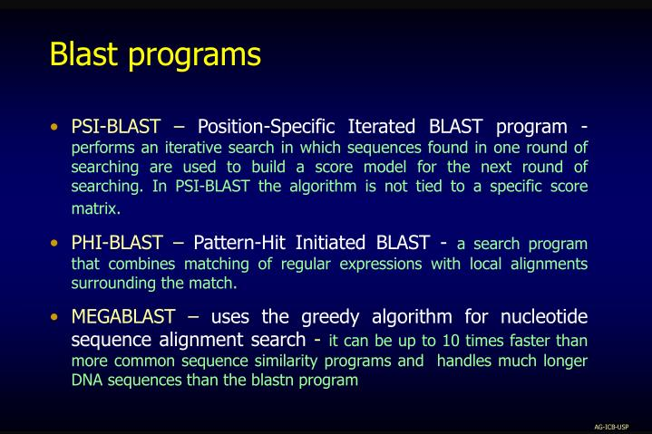 Blast programs