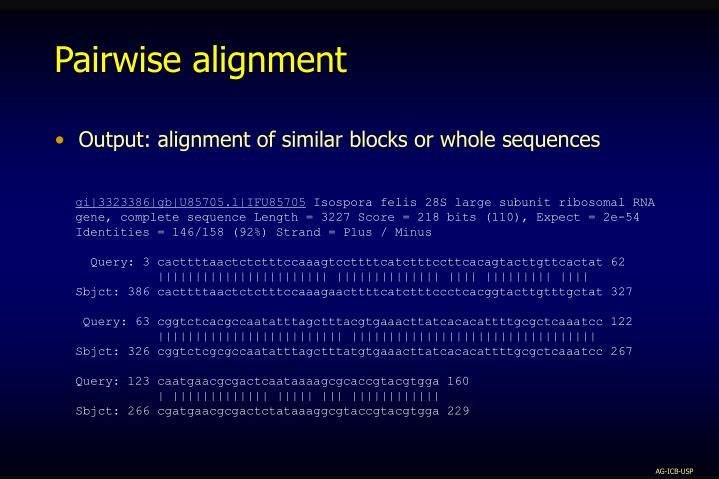 Pairwise alignment
