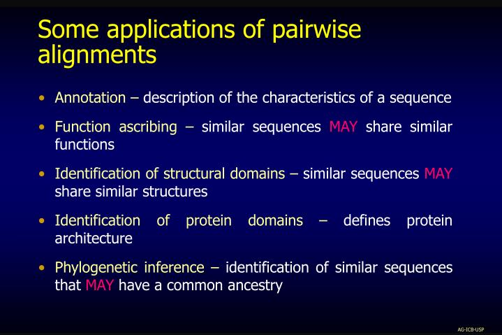 Some applications of pairwise alignments