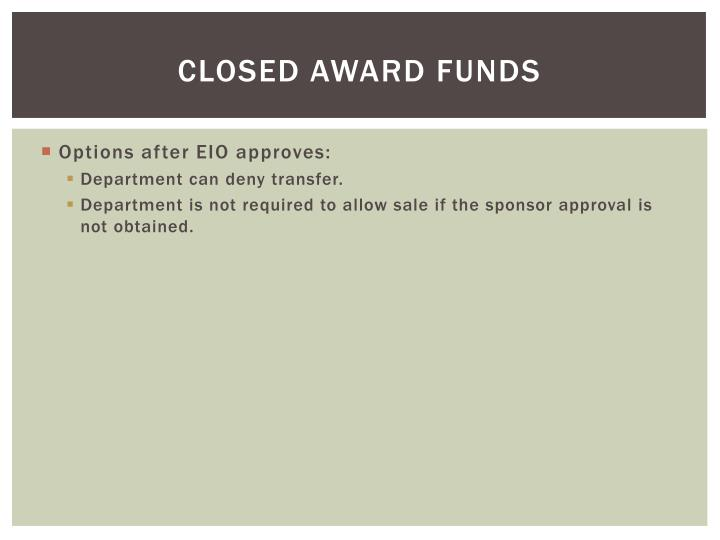 Closed Award Funds