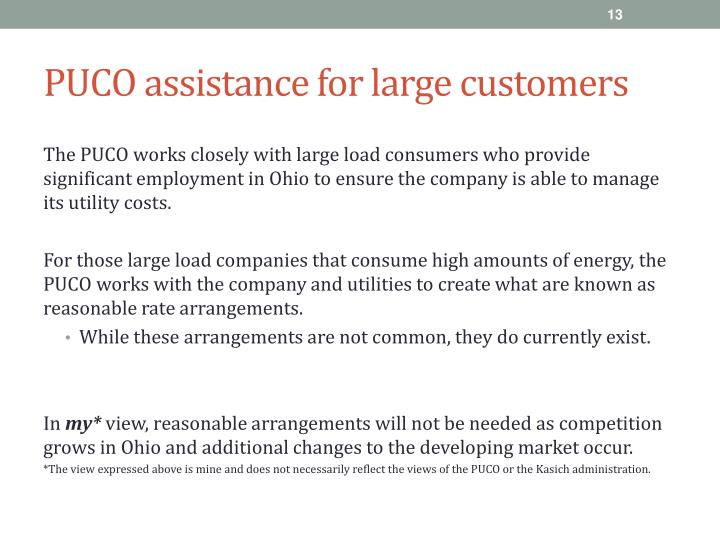 PUCO assistance for large