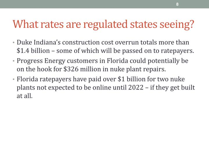 What rates are regulated states seeing?