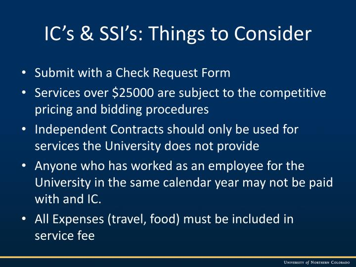 IC's & SSI's: Things to Consider