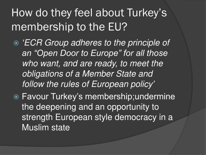 How do they feel about Turkey's membership to the EU?