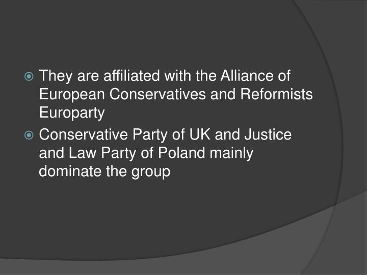 They are affiliated with the Alliance of European Conservatives and Reformists Europarty