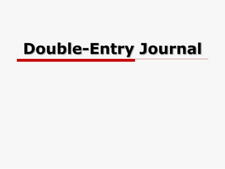double entry journal n.