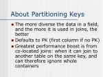 about partitioning keys