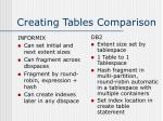 creating tables comparison