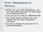 from tablespaces to memory