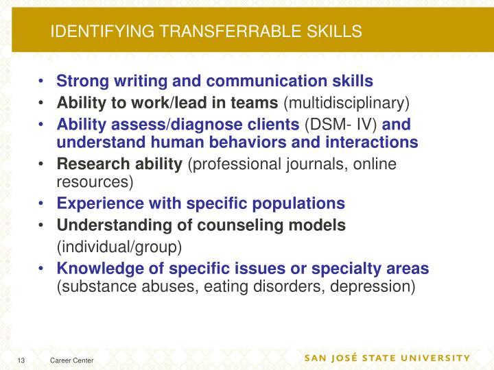 IDENTIFYING TRANSFERRABLE SKILLS