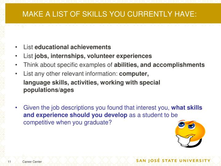 MAKE A LIST OF SKILLS YOU CURRENTLY HAVE: