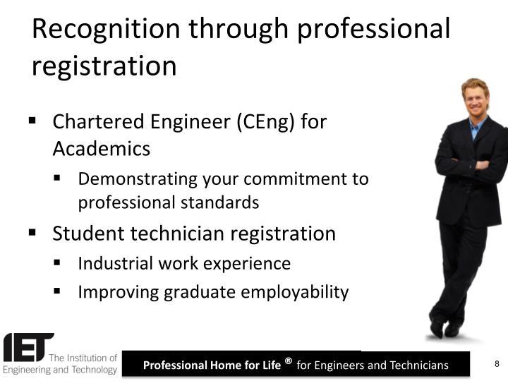 Recognition through professional registration