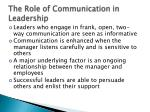 the role of communication in leadership