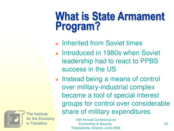 What is State Armament Program?